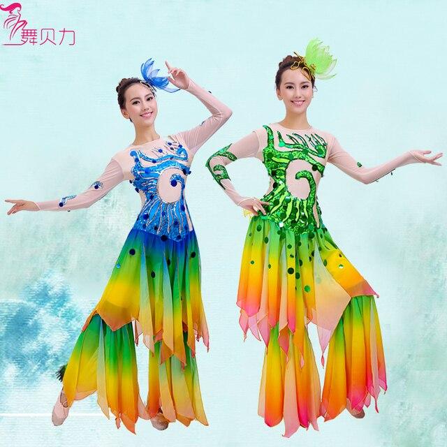 Женщина блестки Таиланд Дай танцевальные одежды Русалка потому Китайский классический миф костюм сценическое рыба/павлин танца износа