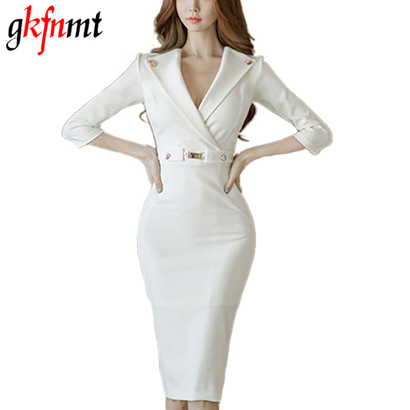 gkfnmt New 2017 Summer Style Fashion Office V neck Elegant Ladies Bussiness Pencil White Dress Women Casual Bodycon Dresses