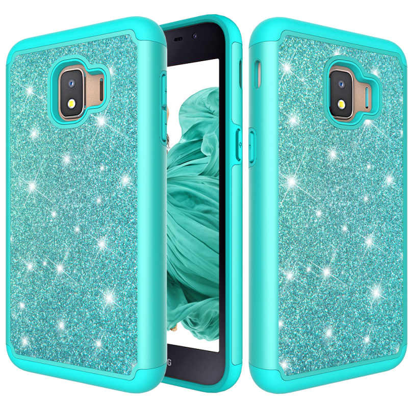 For Samsung Galaxy J2 Core Case Glitter Bling Dual Layer PC Silicone Coque Phone Case for Samsung J2 Core 2018 Cover Accessories