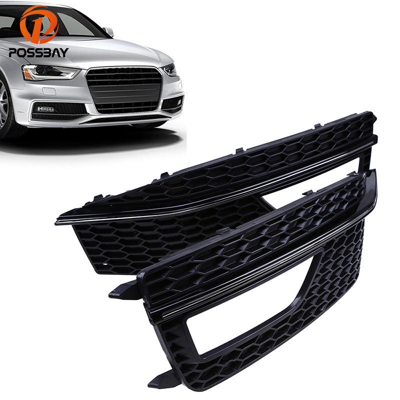 POSSBAY Auto Car Front Lower Bumper Grille Fog Light Grills Cover for Audi A4 B8 2012 2013 2014 2015 S4 S-line Car Accessories 1 pair car styling left & right front bumper lower fog light lamp grille cover for audi a4 s line s4 2013 2014 2015 only