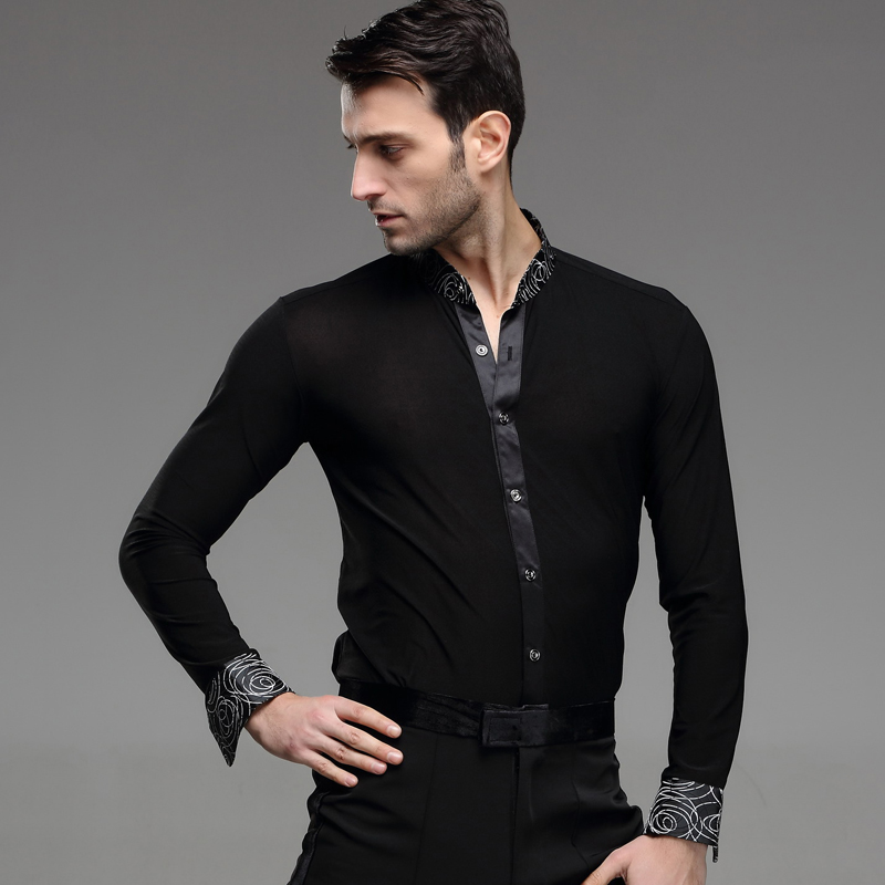 buy print mens latin shirts dance top