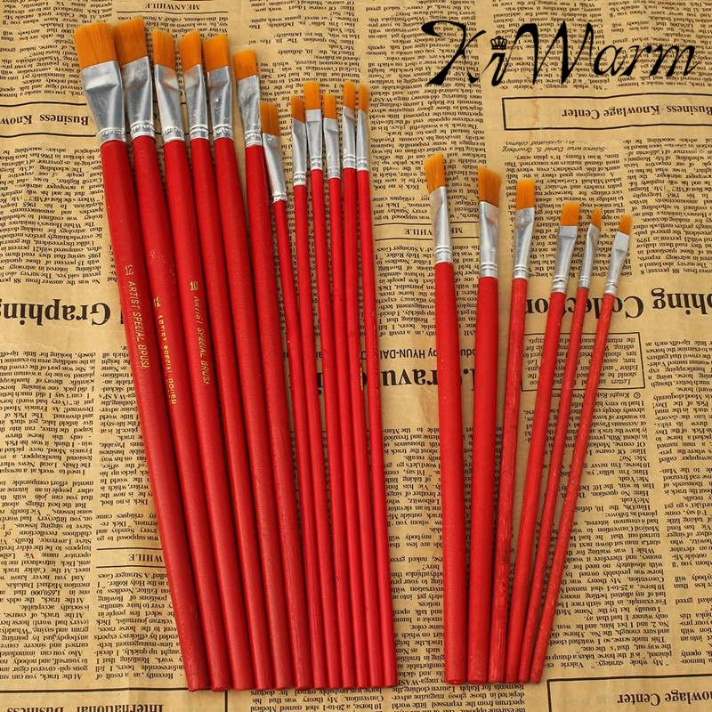 Us 1 95 31 Off 6 Or 12pcs Set Excellent Quality Flat Art Brush Set Oil Painting Brush Blending Size Oil Acrylic Paint School Diy Craft Supply In Diy