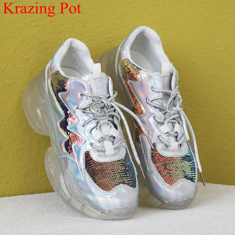 big size bling lace up high heel casual shoes breathable platform sneaker elegant preppy style summer