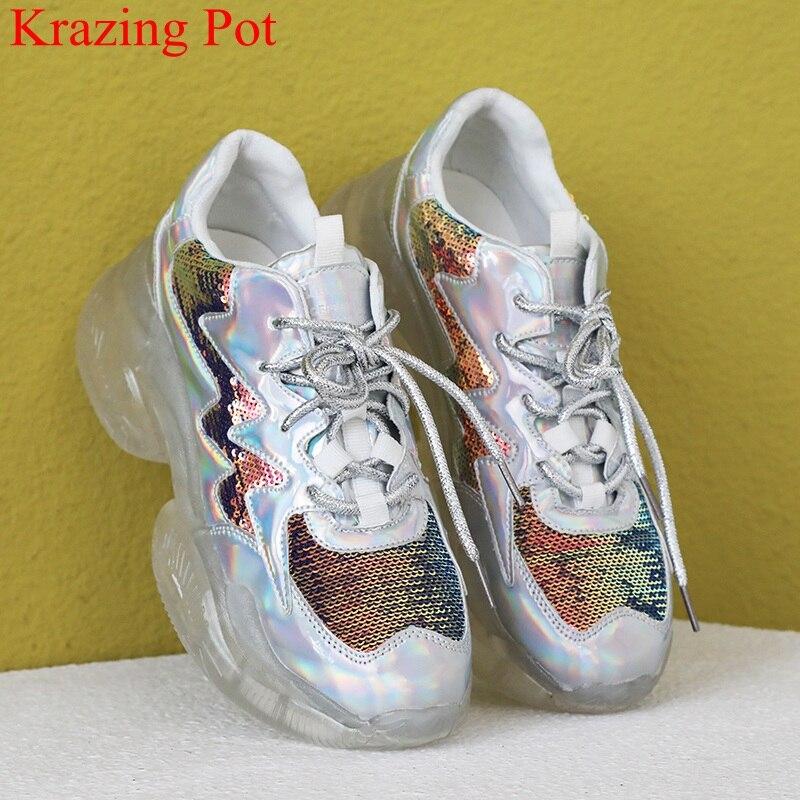 Grande taille bling à lacets à talons hauts chaussures décontractées respirant plate-forme sneaker élégant style preppy été femmes chaussures vulcanisées L73