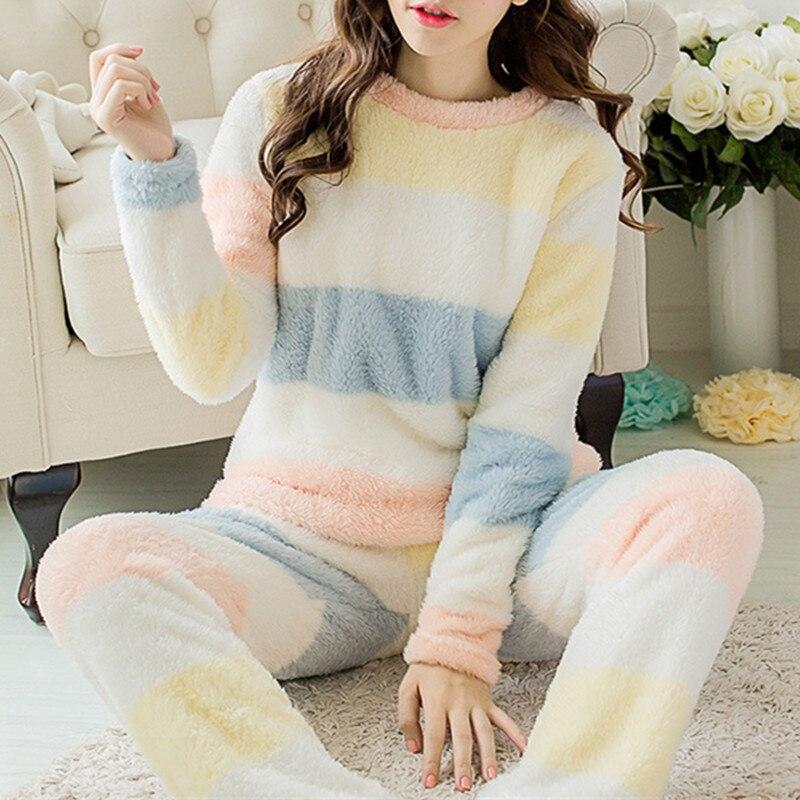 Women Velvet Girls Pajamas Sleepwear Sets Winter Warm Long Sleeve Thick Striped Cute Fleece Pijamas Soft Christmas Home Clothes