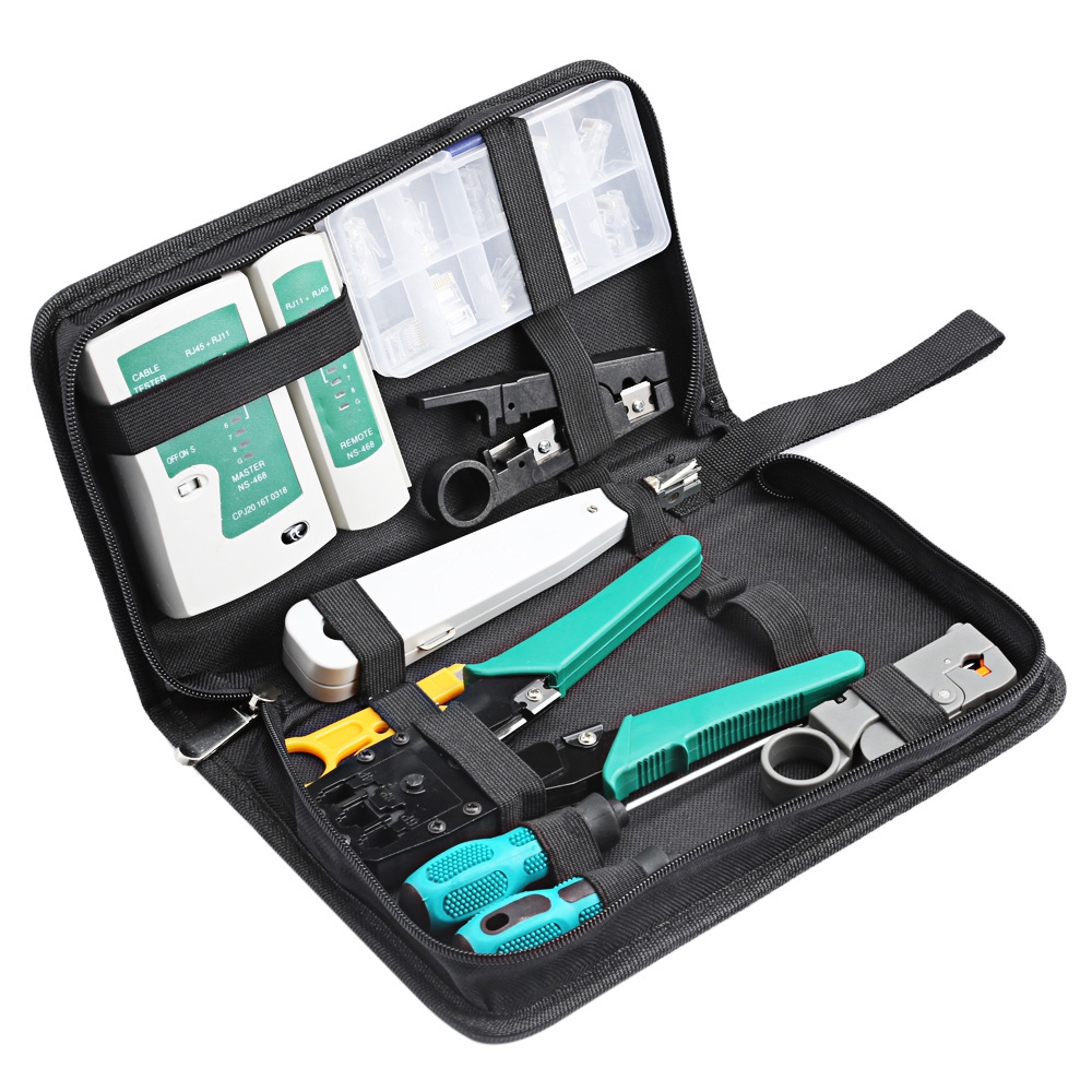 Reebeen 11 in 1 Professional Computer Maintenance Network Repair Tool Box Kit Computer Cables Connectors