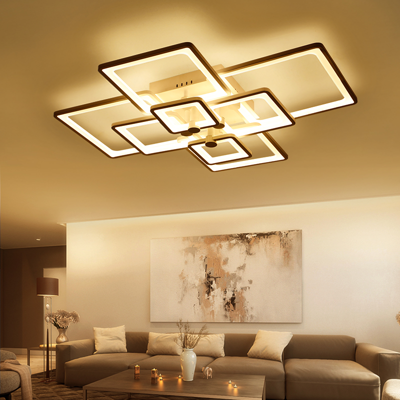 Remote Control+Dimmable Modern LED Ceiling Chandelier For Living Study Room Bedroom Rectangle Led