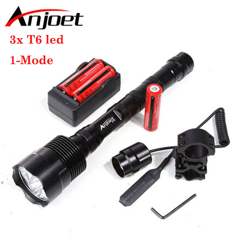 Sets Powerful 1-Mode Tactical Flashlight light 6000Lm XML 3xT6 LED 18650 Lantern Torch+Battery+Charger+Remote Switch+Gun Mount led xm l2 flashlight 8000lumens tactical flashlight hunting flash light torch lamp 18650 battery charger gun mount
