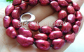 FREE SHIPPING>>@> > W&O655 >>CLASSIC 9mm wine-red multicolor freshwater pearls necklace