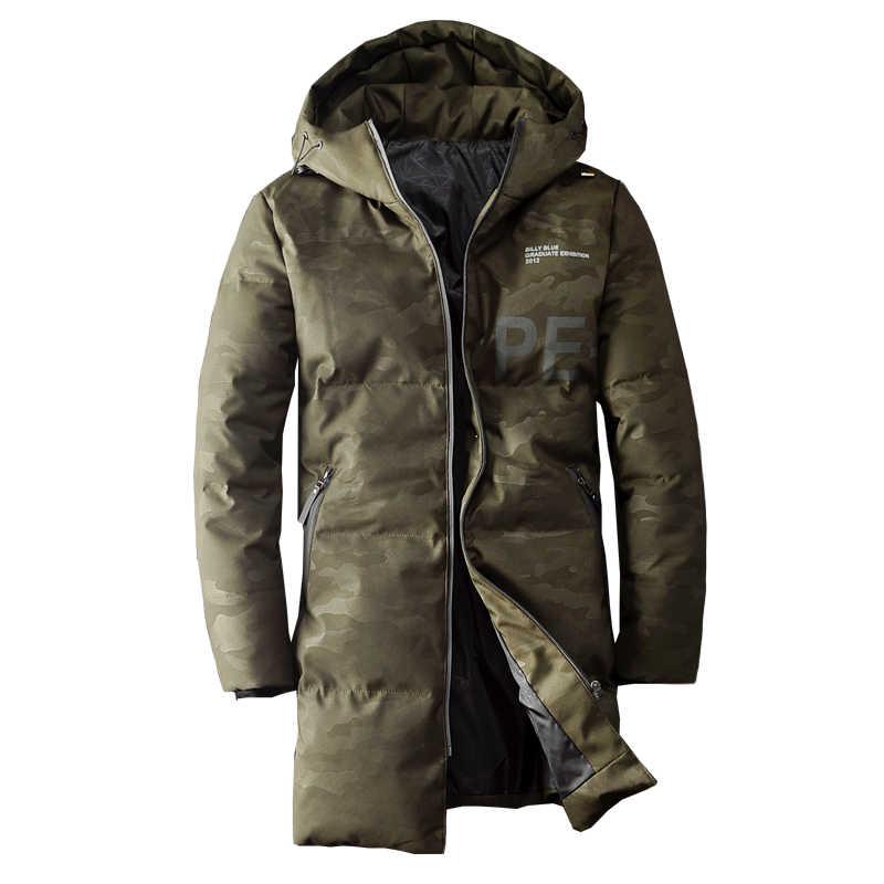 Фото Куртка мужская с утиным пухом 2019 уличная мода длинное пальто Зимние куртки