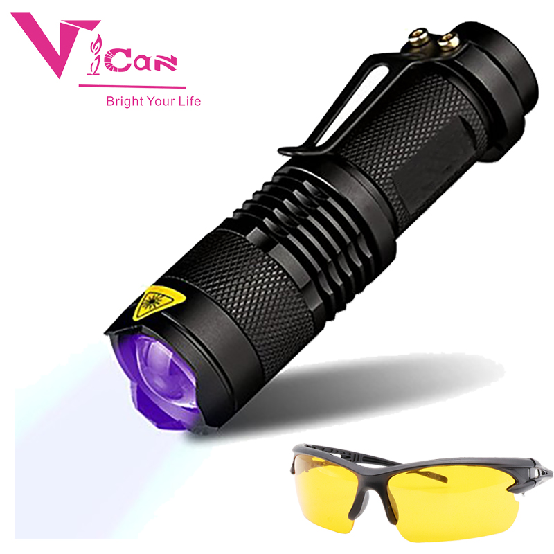 VICAN 365nm UV Blacklight Scorpion UV Light Pet Urine Detector, Zoomable 3 Mode 395nm Ultraviolet Flashlight