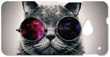 Gato com Óculos Tampa do telefone Celular Para HTC one X M7 M8 M9 Para Samsung Galaxy E7 E5 S3 S4 S5 S6 S7 Borda Mais Nota 3 4 5 caso