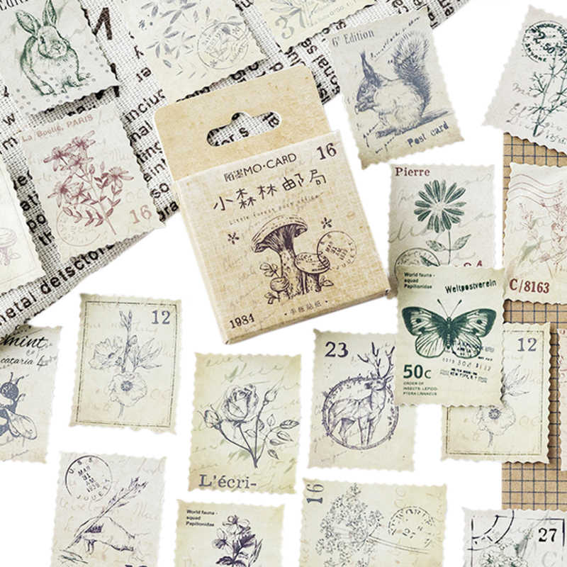 46PCS/box Vintage Little Forest Post Office Diary Crafts Scrapbooking Decorative Paper Lable Sealing Stickers