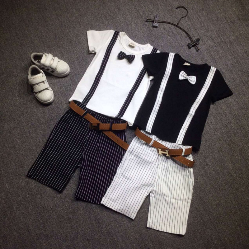2017 New 2 To 7 Years Boys Summer Clothing Set Striped Shirt And Shorts Suit 2 Pieces Children Kids Clothes Set Cotton Wholesale 2015 new 3 7 years korean children s clothing brand boys 1set 100% cotton summer boys clothing sets kids clothes
