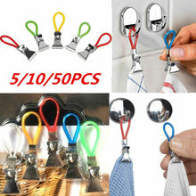 5pcs Tea Towel Hanging Metal Clips 2x2.5x1.5cm Clip On Hooks Loops Hand For Kitchen Bathroom Beach