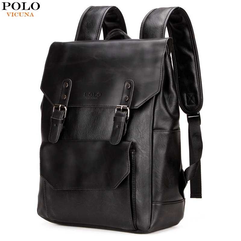 VICUNA POLO European & American Style Men Laptop Backpack PU Leather Backpack With Double Belt Waterproof Men mochila masculina бита rock force rf 34705570