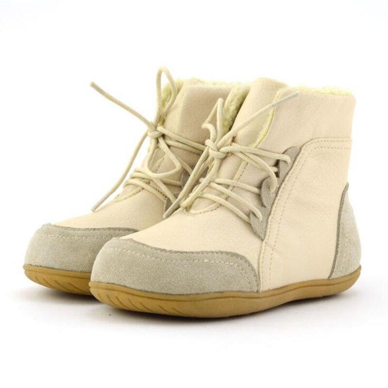 Ehtne nahk Laste saapad 2018 Talvised soojad tüdrukud poiste saapad Pehme kummist libisemisvastased kingad karusnahaga Lace-up lapsed kingad