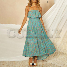 CUERLY Bohemian floral print women long dress Elegant spaghetti strap summer High waist plus size female midi 2019