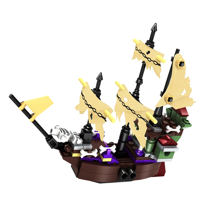 KAZI 4pcs/set Pirates Ghost Ship boat Construction Building Blocks Compatible legoe Educational City Toys For Children friends ship construction