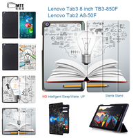 MTT Creative Bulb For Tab 3 8 Inch TB3 850M Leather Stand Protective Skin Case For