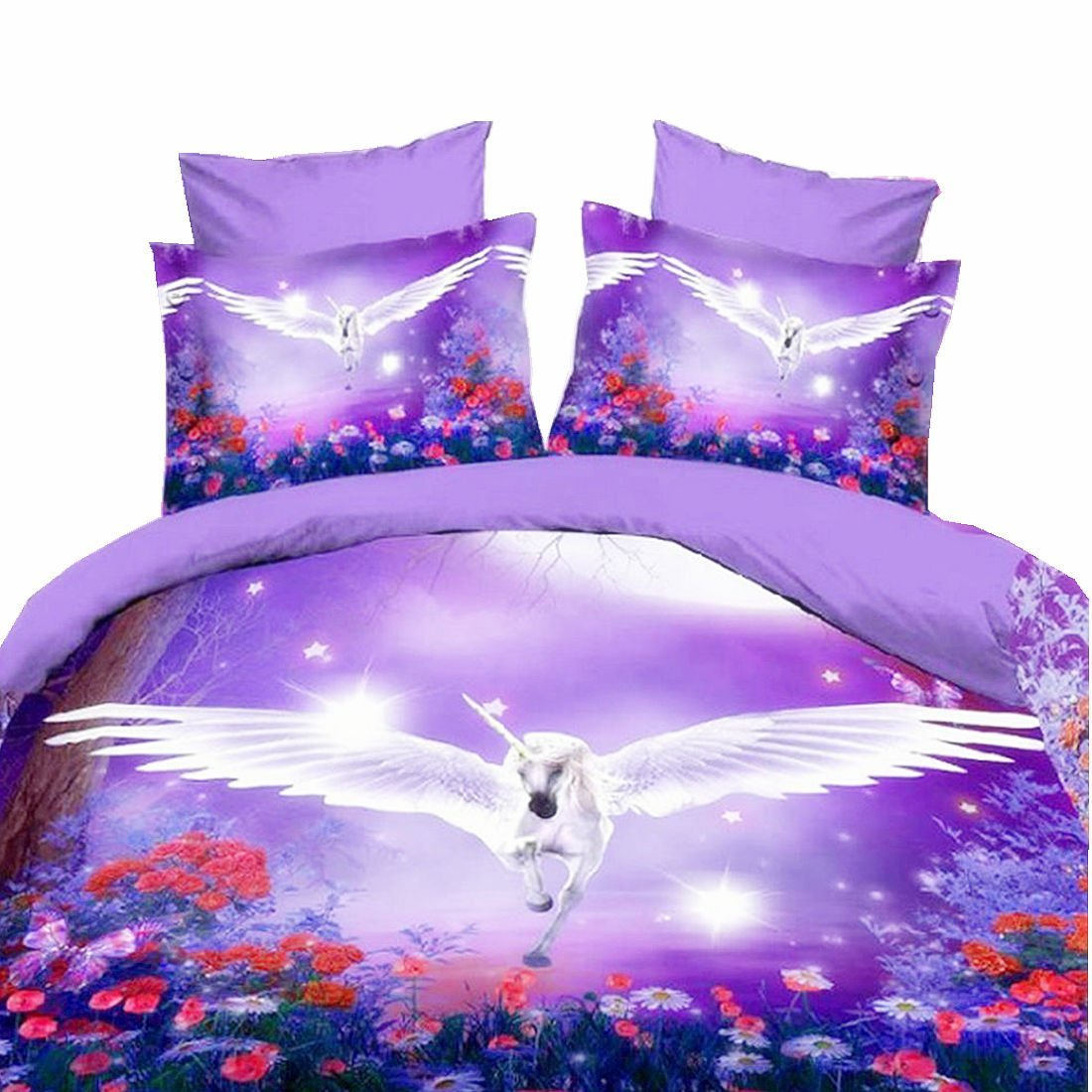 WARM TOUR 4PCS Purple Flying Unicorn 3D Bedding Sets 4 Piece Duvet Cover Sets
