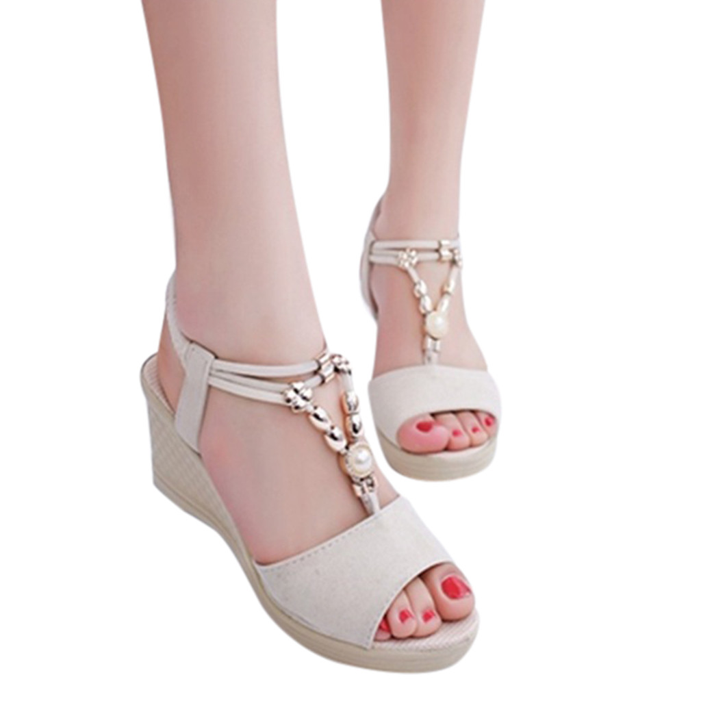 YOUYEDIAN Platform Sandals Shoes Wedges String Fashion Women Ladies Bead Casual Moda