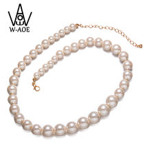 Фотография W-AOE Trendy Simulated Pearl Necklace For Women Girl Fashion Big Beads Chain Pearl Statement Necklace Wedding Party Jewelry Gift