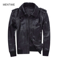MENTIME Mens Black Casual Sheep Leather Genuine Goat Sheepskin Jacket Plus Size 3XL Russian Short Leather