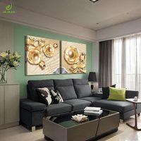 JHLJIAJUN 2Pcs Set Gold Flowers Diamonds Modern Painting Canvas Oil Paintings Living Room Home Decor Frame