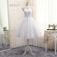 Vestido De Noiva 2017 Short Wedding Dresses A Line Tea Length Tulle Crystals Bow Backless Vintage