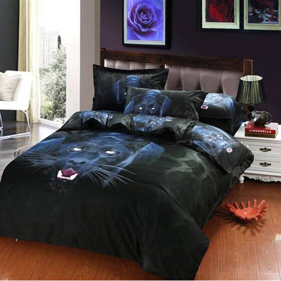 Charmant 3D Wildlife Animal Panther Black Leopard Print Manly Bedding Sets Queen  Size Comforter Cover Bed Sheet