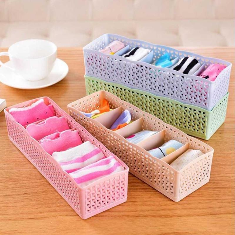 Plastic 5 Cells Storage Boxes For Socks Ties Bra Underwear Closet Organizer Drawer Divider Ropa Interior Organizador G25
