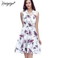 Ruiyige 1950s Vintage Pretty High Quality XXL Dresses Evening Sleeveless V Neck Summer Print Retro Sashes