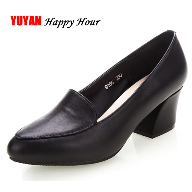 2018 New Arrival Soft Genuine Leather Shoes Women High Heels Fashion
