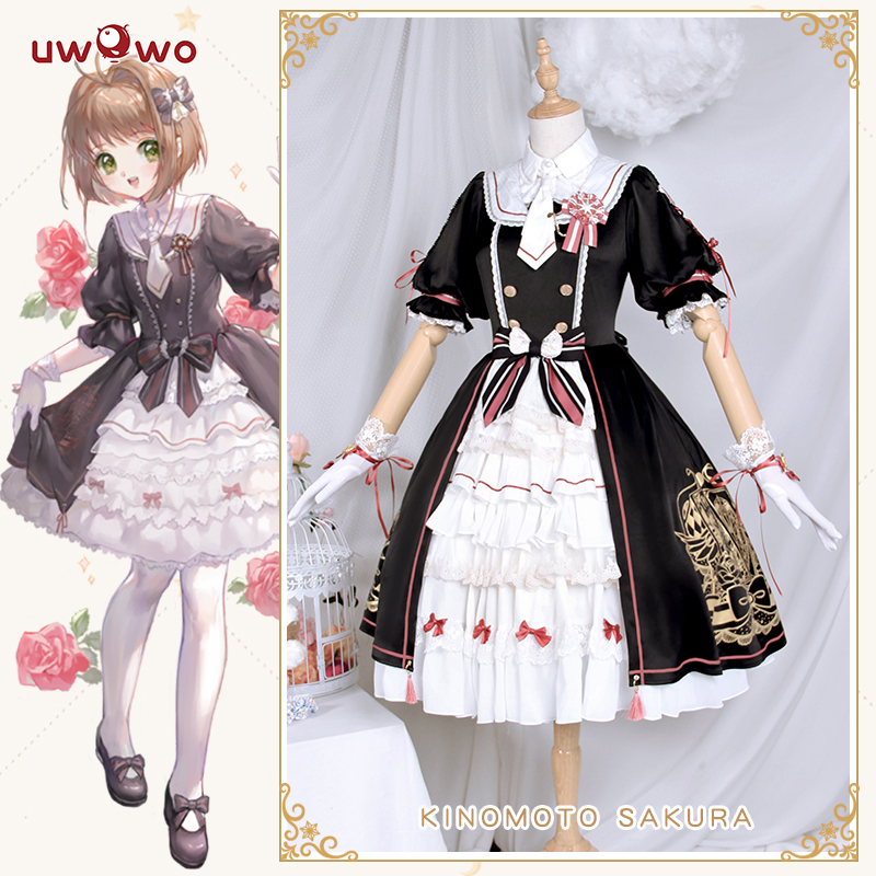 UWOWO Kinomoto Sakura Card Captor Cosplay Black Lolita Cute Doujin Dress Anime Card Captor Cosplay Costume Women Sakura Costume