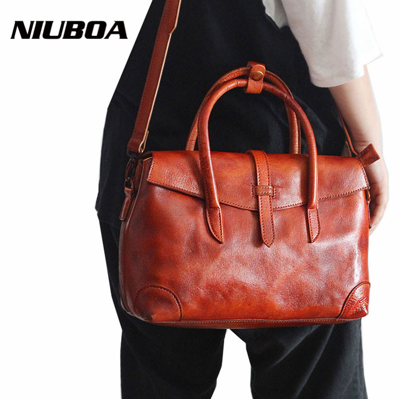 New Women Handbag Genuine Leather Shoulder Bag Manual Print Cowhide Ladies Casual Shopping Bag Vintage Capacity Tote Bolsos 2017 luxury brand women handbag oil wax leather vintage casual tote large capacity shoulder bag big ladies messenger bag bolsa