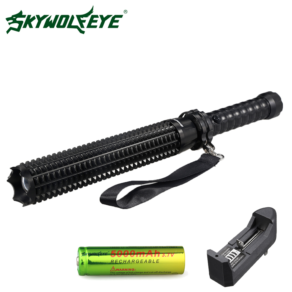Skywolfeye LED Flashlight Tactical Baseball Bat Zoom XPE LED Self Defense Torch 3 Mode With 18650 Rechargeable Battery Charger zk35 cree xm l2 4500lm 5 mode flashlight torch led flashlight self defense lamp rechargeable with 18650 battery for outdoor
