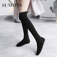 Sungtin Women Sexy Slim Knitted Stretch Thigh High Boots Autumn Large Size 44 Plush Warm Long Boots Ladies Over The Knee Boots