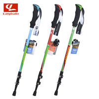 2016 New Scalable AntiShock Aluminum Alloy Trekking Camping Hiking Stick 3 Sections EVA Handle Alpenstock For