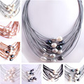 """Free Shapping 10-12mm Natural Oval Freshwater Pearl Gem Stone Handwork 15 Row Leather Fashion Necklace 16""""-22"""" Magnet Clasp"""
