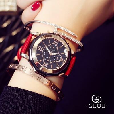 Relogio Feminino Top Brand GUOU Watch Women Three eyes Design Retro Leather Watches sport Ladies Quartz Wrist Hot