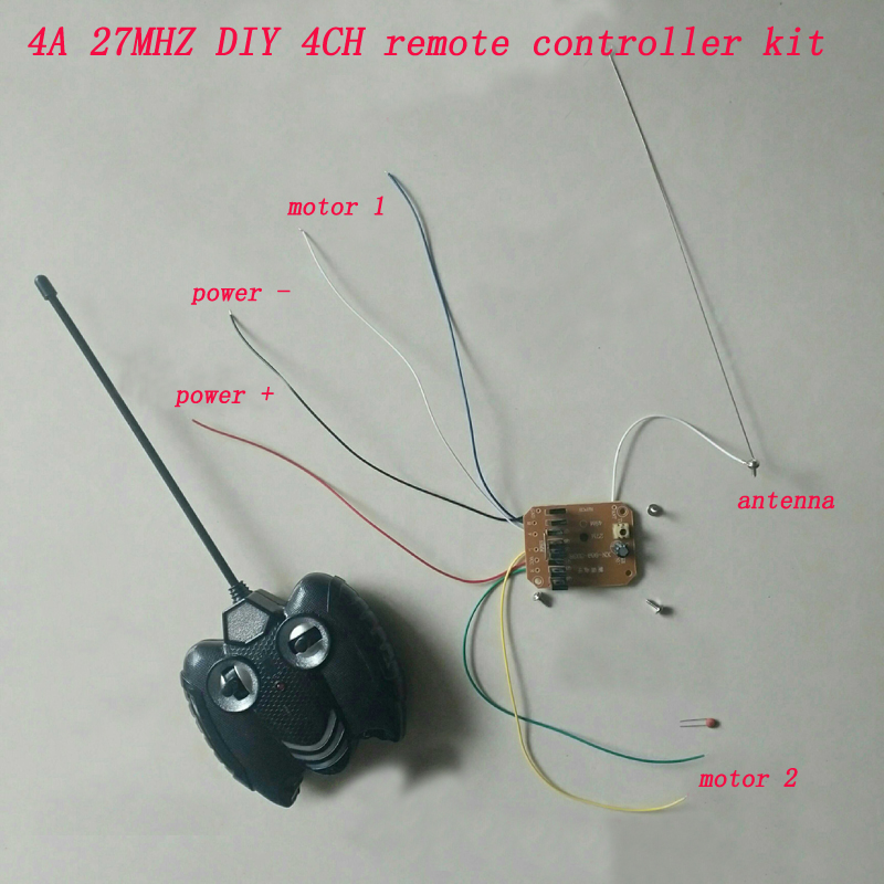 DIY RC Toys 4CH 27MHZ Remote Controller Kit 4.5V/5.5V/6V/7.2V 4A High Power Receiver Board 20M Controlling Distance Transmitter