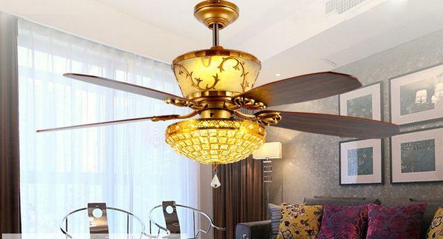 Fernbedienung Deckenventilator Licht Luxus Dekoration Restaurant LED Licht  Kristall Fan Lampe Wohnzimmer Lobby Deckenventilator 52