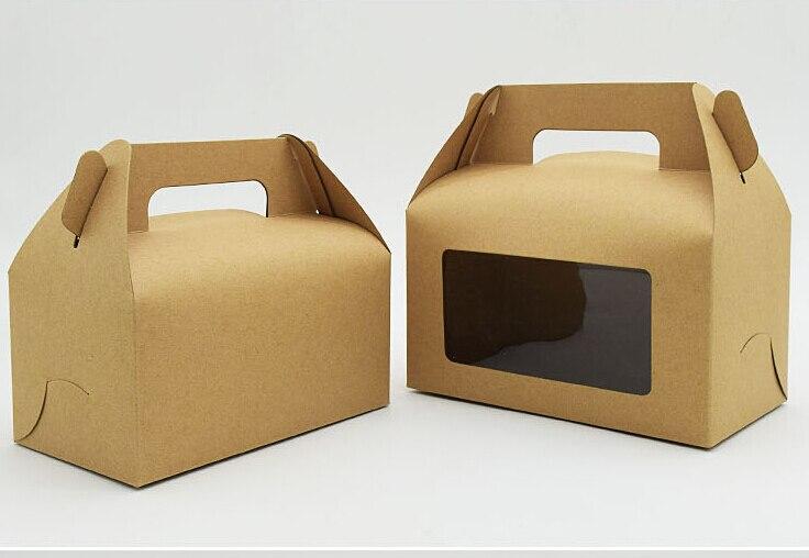 1 18 Joy 17 5 9 5 10CM kraft window boxes party favor boxes with handle