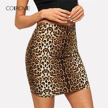 COLROVIE imprimé léopard moulante Streetwear jupe dhiver 2018 automne coréen Sexy jupes femmes bureau dames Club Mini jupe