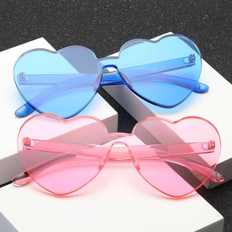 3493e1f52 ... OFIR 2019 Love Heart Shape Sunglasses Women Siamese Rimless Frame Tint  Clear Lens Colorful Sun Glasses ...