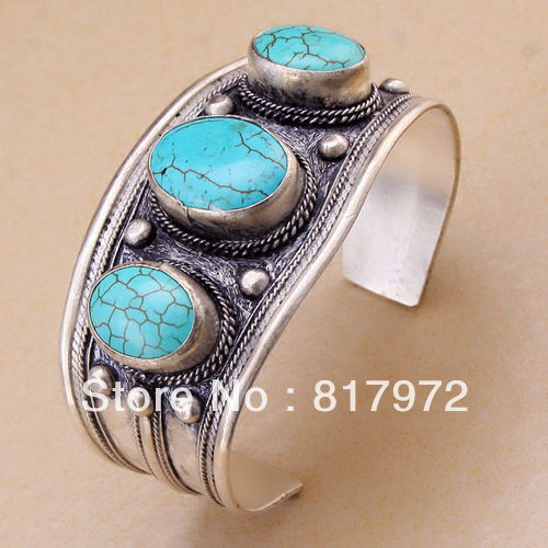 Glamour Bling oval stone howlite bead inlay tibet silver cuff bracelet guarantee Adjustable Party Gift Style   &6YB00047