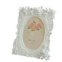 Retro Vintage Resin Rose Flower Home Desktop Decorative Photo Frame Family Photo Picture Frame Holder