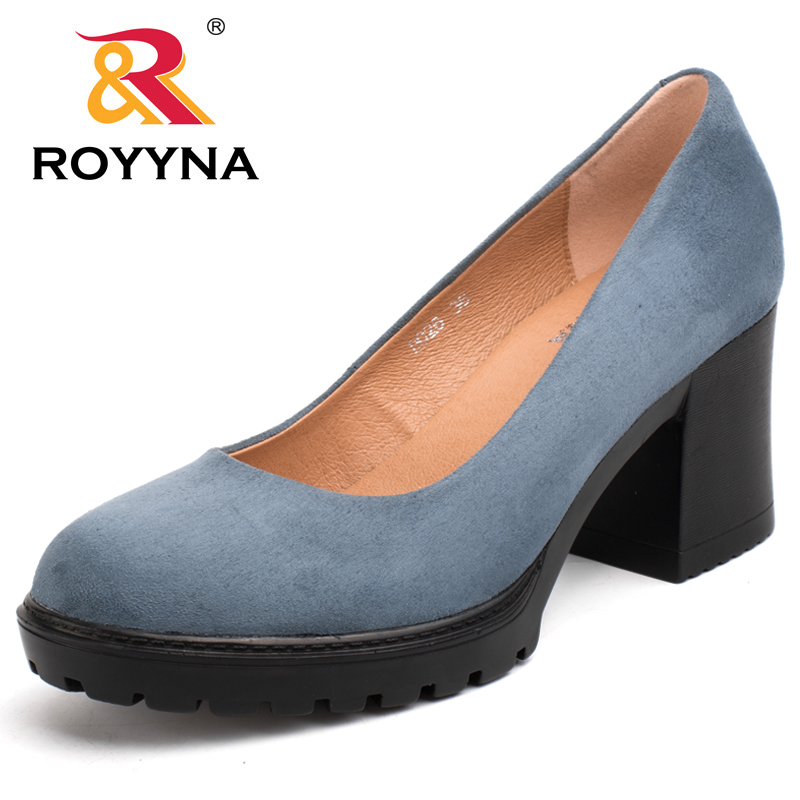 ROYYNA Square Heels Platform-Shoes Wedding-Shoes Women Pumps Round-Toe Wholesales Ladies