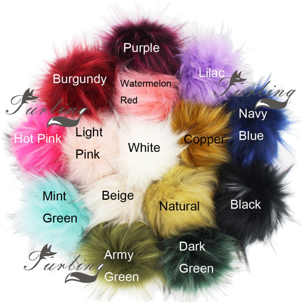 Furling DIY 1PC Faux Raccoon Fur 11CM Fluffy Pom Pom Ball for Bayby Beanie Hat Accessories Women Scarve Hat DIY pom pom decorated glitter clip 1pc